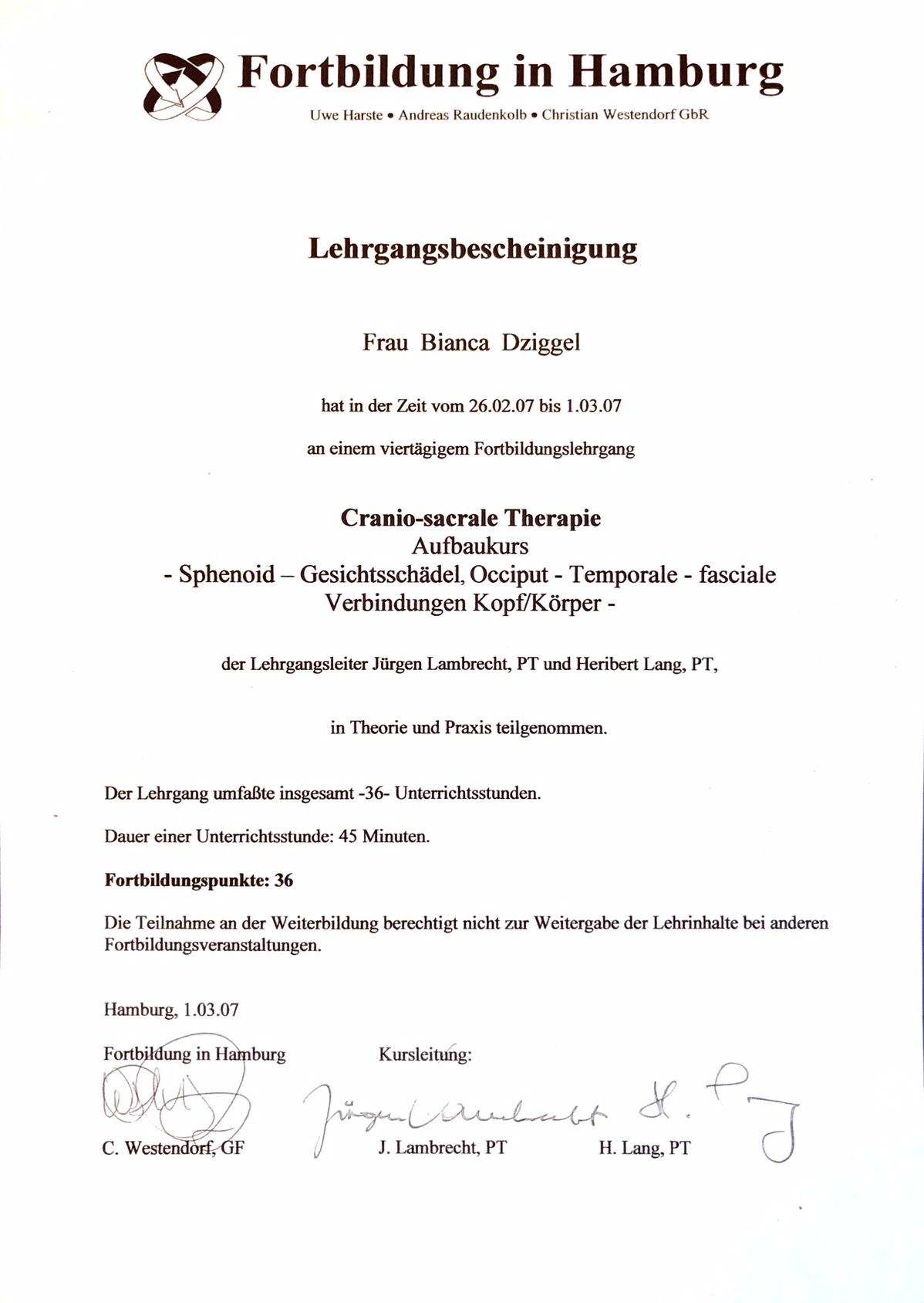 craniosacrale Therapie Physio Dziggel