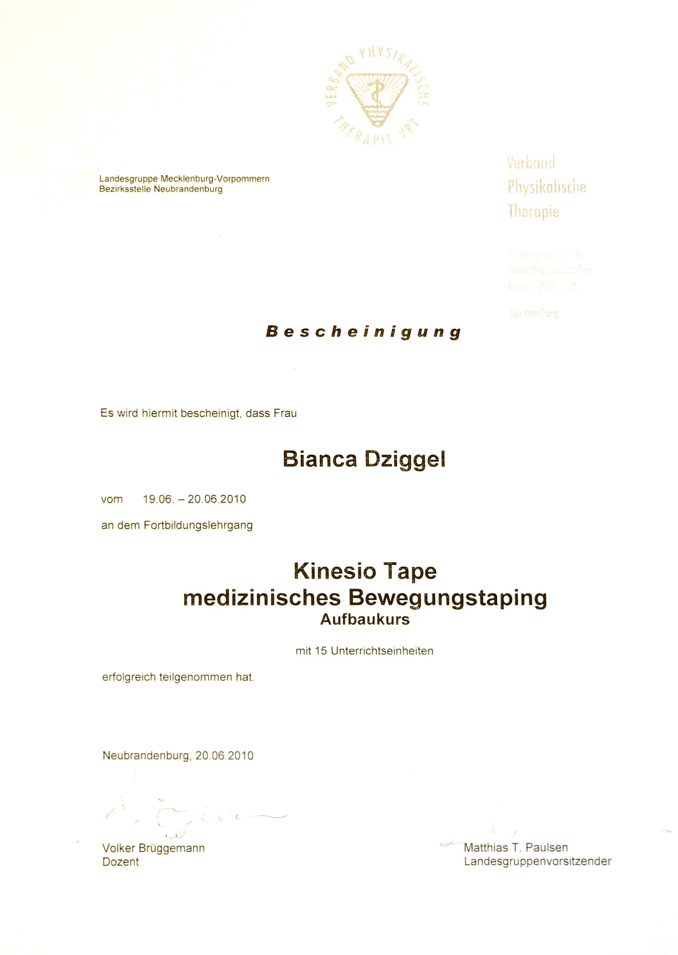 Kinesiologisches Taping Physio Dziggel